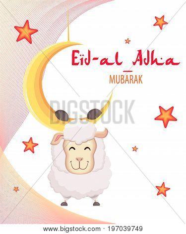 Festival of sacrifice Eid-Al-Adha. Eid Mubarak. Goat hanging on the moon. Vector illustration on abstract background