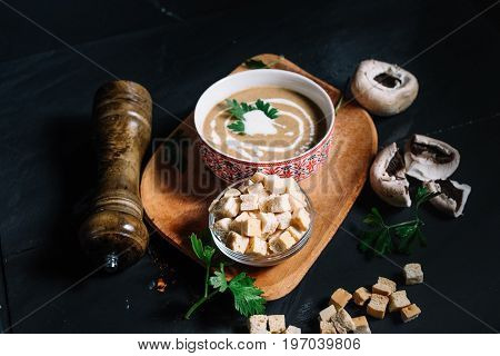 Top View Of Entree At Restaurant, Creamy Delicious Mushroom Cream Soup Served Hot And Chilli