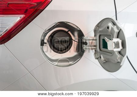 Oil Filler Cap Opening At The Gas Station