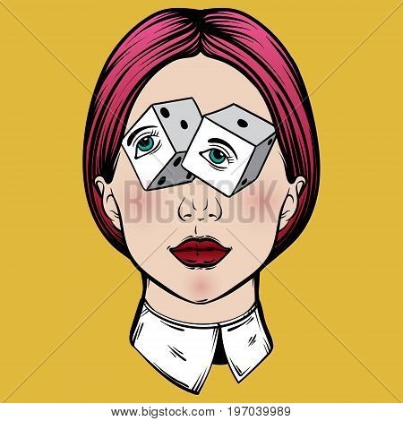 Vector hand drawn illustration of young pretty girl . Surreal tattoo artwork. Colorful template for card poster banner print for t-shirt .