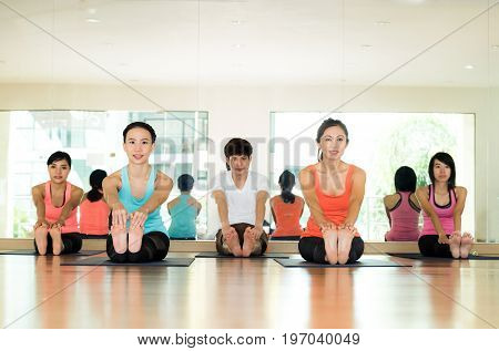 Group of asian women and man practicing yoga fitness stretching flexibility pose working out healthy lifestyle wellness well being indoor full length studio background