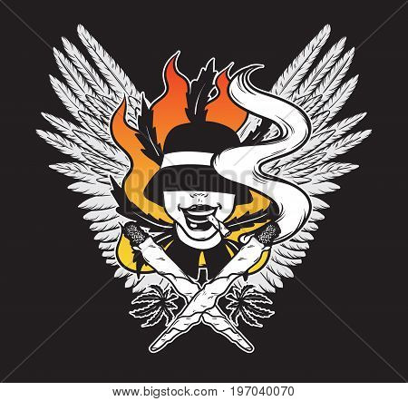 Vector hand drawn illsutration of person in hat with joint. Tattoo artwork with wings. Colorful template for card poster banner print for t-shirt made in cartoon style.
