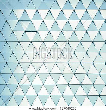 Abstract 3D illustration. modern aluminum facade of triangles