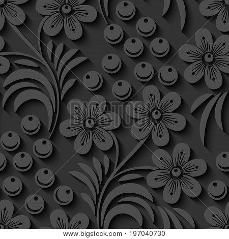 Elegant 3d seamless floral pattern. Vector Illustration