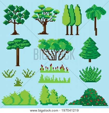 Set of pixelated plants, shrubs and grasses for games and mobile applications