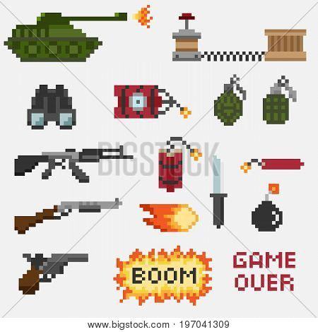 A set of pixel weapons for games and mobile applications