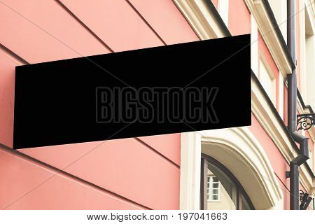 Mock up. Rectangular shape signage on the wall of classical architecture building