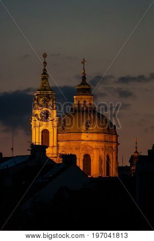 Saint Nicholas Church in city Prague at night