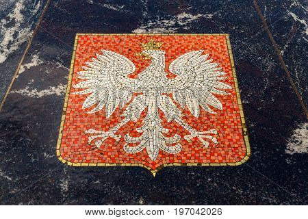 Coat of arms of Poland, represented in the Hanseatic fountain