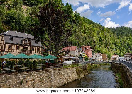 City Hrensko on Kaminitska river in Bohemian Switzerland  national park, Czech Republic