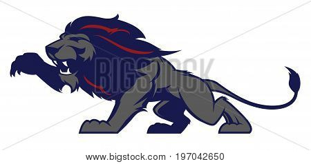 Roaring lion sport logotype isolated on white