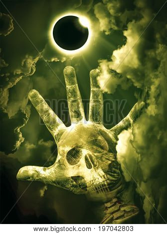 Scientific Natural Phenomenon. Total Solar Eclipse With Diamond Ring Glowing On Sky.