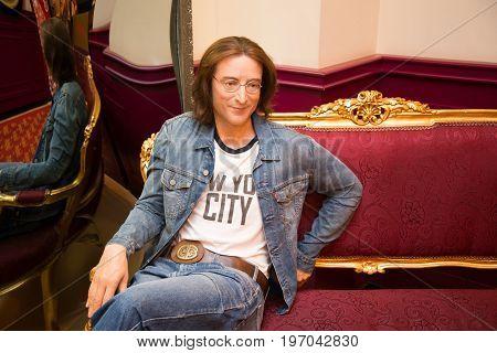 Prague, Czech republic, July 22, 2017: John Lennon in Grevin museum of the wax figures in Prague.