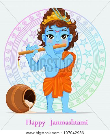 Happy Janmashtami. Celebrating birth of Krishna. Boy with flute. Traditional Indian fest. Vector illustration on abstract background