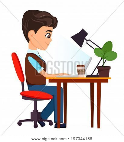 Business man cartoon character. Businessman sitting with laptop at his desk. Vector illustration.
