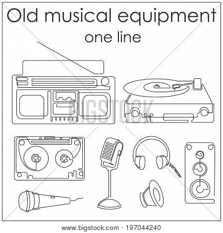 Old musical equipment drawn by one line