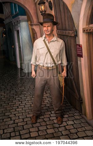 Prague, Czech republic, July 22, 2017: Harrison Ford as Indiana Jones in Grevin museum of the wax figures in Prague.
