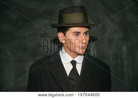 Prague, Czech republic, July 22, 2017: Franz Kafka in Grevin museum of the wax figures in Prague.