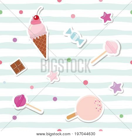 Festive seamless pattern with cute stickers on striped background. For birthday and scrapbook design. Vector