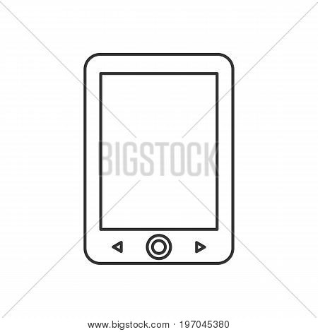 Isolated black outline electronic book reader on white background. Line icon