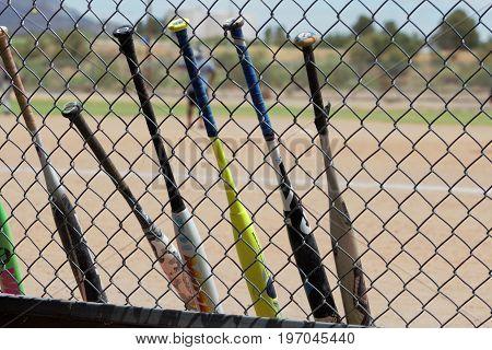 baseball bats standing along a baseball fence during a game