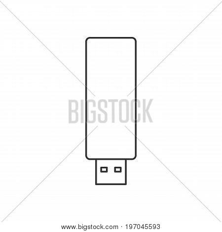 Isolated black outline usb flash drive on white background. Line icon