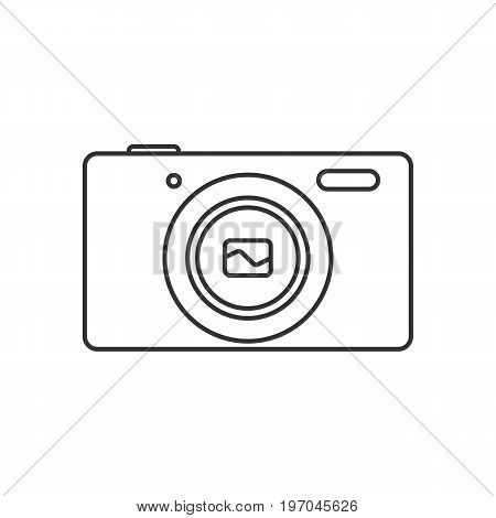 Isolated black outline compact digital camera on white background. Line icon