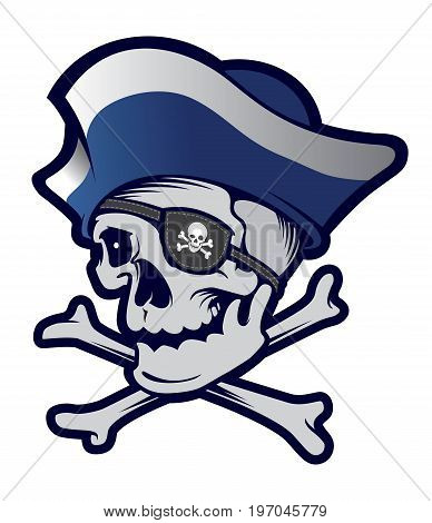 Pirate skull sport mascot. Isolated on white background