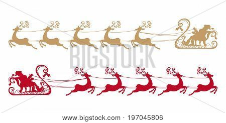 Santa Claus rides in a sleigh in harness on the reindeer. Silhouettes set. Vector illustration. Christmas symbol. Retro style