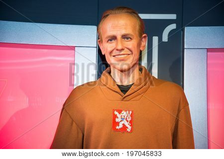 Prague, Czech republic, July 22, 2017: Emil Zatopek in Grevin museum of the wax figures in Prague.