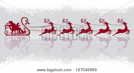 Santa Claus rides in a sleigh in harness on the reindeer. Silhouettes set. Vector illustration. Christmas symbol. Retro style. Snowflakes background