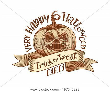 Trick or treat and Happy Halloweeen Party on engaved vintage tape with hand drawn pumpkin. Vector art. Unique design element for poster or banner. Halloween pumpkin and lettering. Sketch