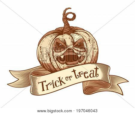 Trick or treat holidays quote on engaved vintage tape with hand drawn pumpkin. Vector art. Unique design element for poster or banner. Halloween typography symbol with pumpkin and lettering. Sketch