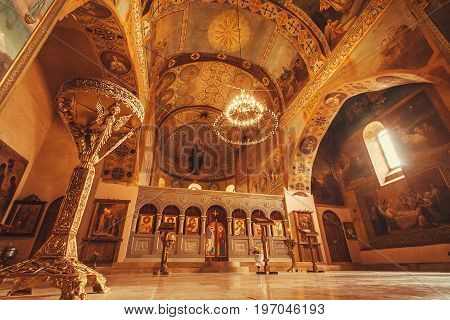 MTSKHETA, GEORGIA - OCT 13, 2017: Paintings on ceiling and tall walls of old church of Shio-Mgvime monastery on October 13, 2016. Christian monastery built in 6th century