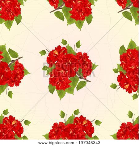 Seamless texture branch red hibiscus tropical flowers on a crack background vintage vector botanical illustration hand draw