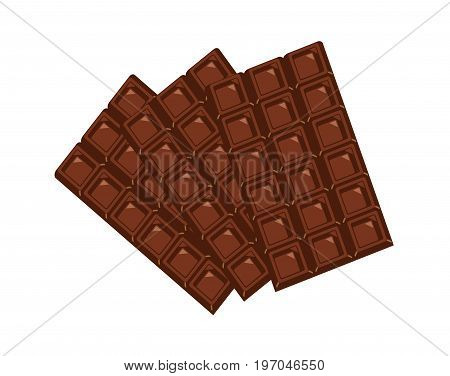 Delicious plain chocolate bars on white background