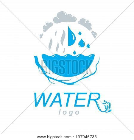Pure water vector abstract logotype for use in mineral water advertising. Body cleansing concept.