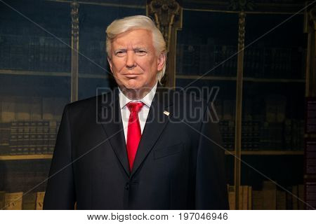 Prague, Czech republic, July 22, 2017: Donald Trump in Grevin museum of the wax figures in Prague.