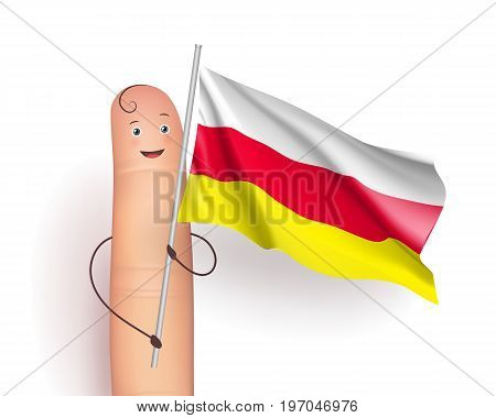 South Ossetia flag. Finger man smiling and holding it. European unrecognized and with unlimited recognition state. Vector realistic illustration on white background