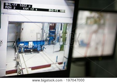 CHERNOBYL UKRAINE - OCTOBER 16 2015: Monitoring nuclear reprocessing in a control room at Chernobyl Nuclear Power Plant.