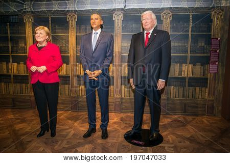 Prague, Czech republic, July 22, 2017: Angela Merkel, Barack Obama and Donald Trump in Grevin museum of the wax figures in Prague.