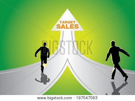 An Illustration of fast business concept with businessman running on the road