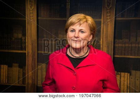 Prague, Czech republic, July 22, 2017: Angela Merkel in Grevin museum of the wax figures in Prague.