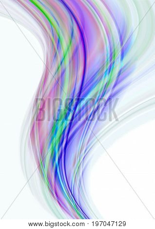 White background with converging the beam of colorful stripes lying on transparent pink purple wave