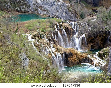 Stunning Landscape with the Cascades of Plitvice Lakes National Park in Karlovac County, Croatia