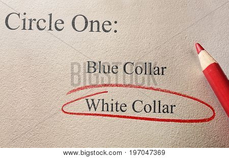 White collar and blue collar employment types