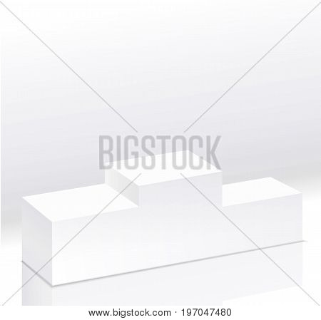 Sport winners white podium isolated vector.Pedestal side view. Right view. 3d style illustration. Clear pedestal on light background. Vector illustration.