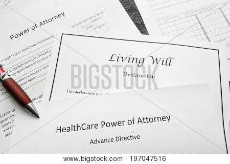 Power of Attorney Living Will and Healthcare Power of Attorney documents