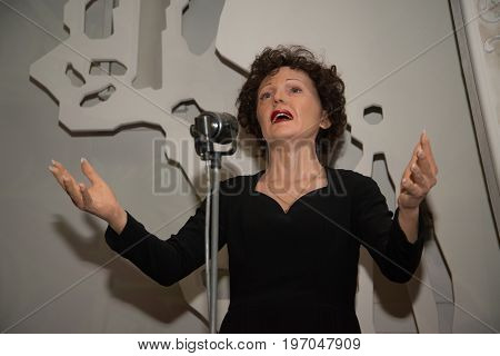 Prague, Czech republic, July 22, 2017: Edith Piaf in Grevin museum of the wax figures in Prague.