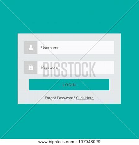 Login website template flat design. Login user interface template. Vector stock.